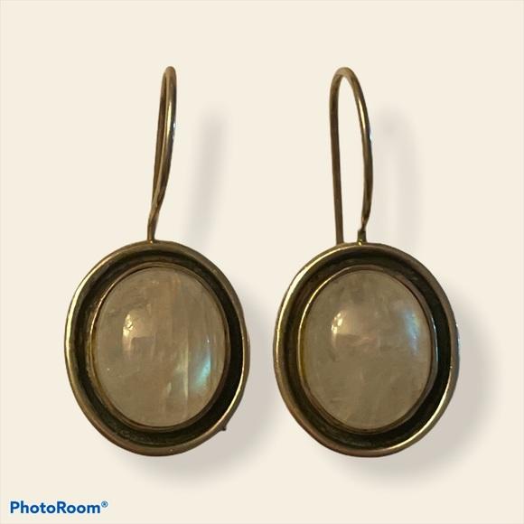 Vintage 925 sterling silver moonstone earrings